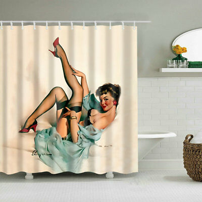 Shower Curtain Decor Sexy Pretty Pinup Girl in Bed Body Art Painting Curtains