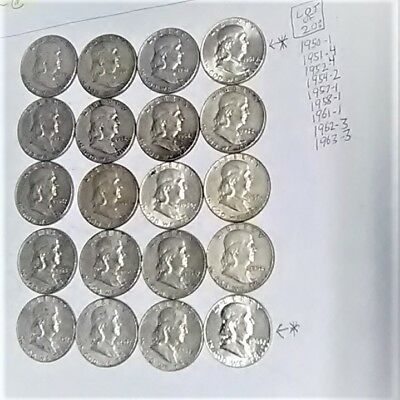 Lot of 20 Mixed 1950-1963 UNSEARCHED 90% Silver Franklin USA $10 FV Half Dollars