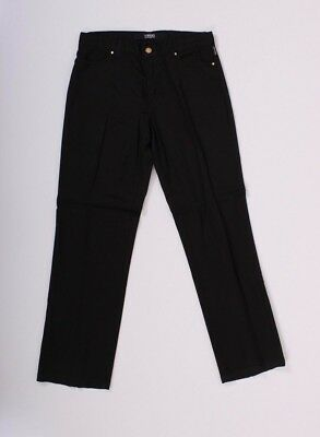Vintage VERSACE Jeans SZ 30 IT 44 Black Pant Stretch Straight 90's Gold beg