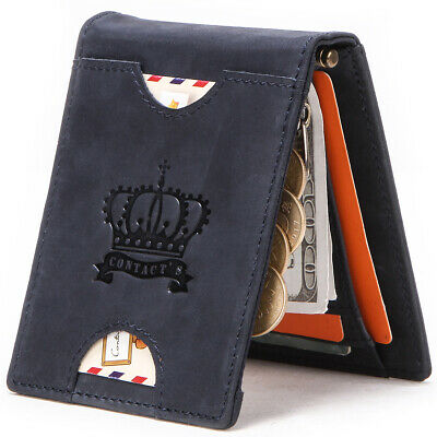 Mens Soft Genuine Leather Wallet ZIPPER Card Coin Purse RFID Blocking Vintage