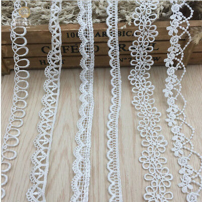 1-10Yrds Flower Embroidery lace Crochet Trim Wedding Fabric Ribbon Sewing White
