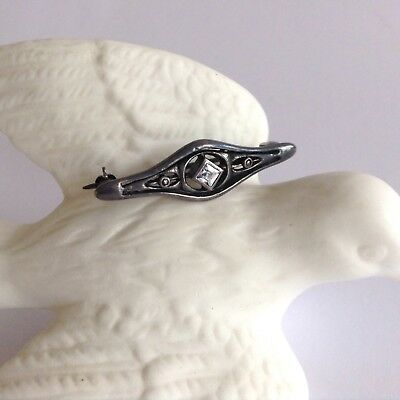 Vintage Antique Art Deco Small Sterling Silver 925 Pin Brooch With Rhinestone
