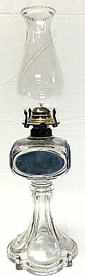 Antique Oil Lamp w/Clear Glass and Blue  Design of Women