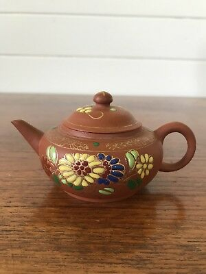 Vintage Authentic Chinese Yixing Zisha Clay Teapot Stamped To Base Hand Painted