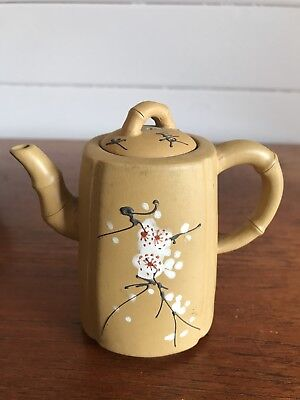 Vintage Authentic Small Chinese Yixing Clay Teapot Signed By Potter Hand Painted