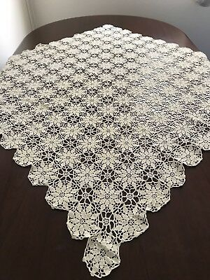 Vintage Hand Crocheted Ecru Cream Square Small Tablecloth Crochet