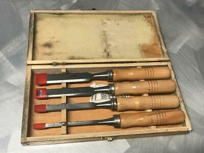 Old Vintage Box Of Wood Chisels Carpenters Tool Set Australian ? 4 Sizes