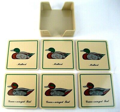 Vtg 1980's Georges Briard Mallard Duck Coaster Decor Set Of 6 W/ Holder Clean