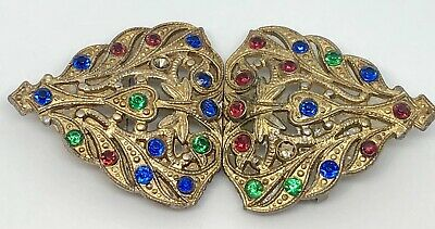 Vintage Gold Tone And Colored Rhinestone Belt Buckle Marked T & G