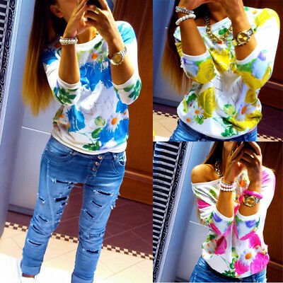 AU STOCK Womens Floral Blouse Tops Ladies Long Sleeve Loose Casual T shirt Tees