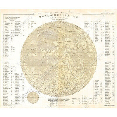 Moon map Large Vintage Historic Perthes 1880 Map Of The Moon Old Antique Lunar M