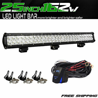 25inch Led Light Bar Spot/Flood For 4WD Jeep Ford Toyota Tundra UTE 162W Driving