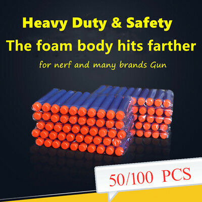 50/100PS Set Nerf Gun Refill Bullets N-strike Kids Gift Soft Round Head Toy Blue