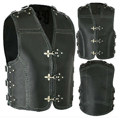 Mens Motorcycle Waistcoat Cow Hide Leather Rider Motorbike Casual Vest XS-6XL