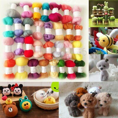 50 Colors DIY Wool Fibre Roving Needle Felting Hand Spinning Crafts Supply Kit