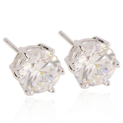 Flawless 9K White Gold Filled Round cut Cubic Zirconia Stud Earrings  Womens