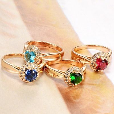 Fashion 18K Gold Filled Cubic zirconia Simple Engagement Wedding Rings For Women