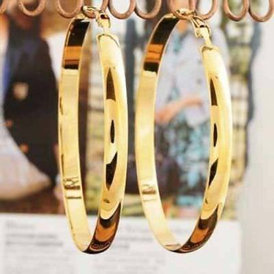 Fashion jewelry 14K Gold Filled Women smooth Design big Round hoop drop earrings