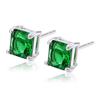 Vintage Square cubic zirconia 14k White gold Filled crystal green Stud Earrings