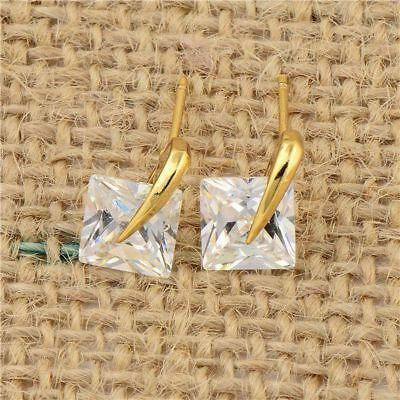 Fashion 14K Gold Filled korean Square Cubic Zirconia Crystal Stud earring Gift