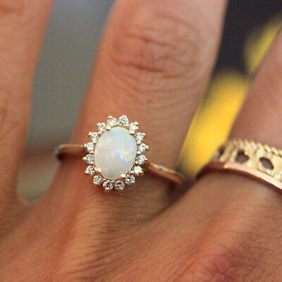 Women's Cubic Zirconia 14K Yellow Gold Filled Halo Opal engagement rings Wedding