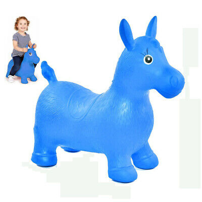 Space Hopper Inflatable Ride On Bouncy Horse Soft Animal Blue Play Toys For Kids
