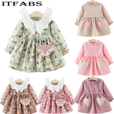 UK Retro Toddler Kid Baby Girl Xmas Thanksgiving Lace Floral Party Dress Clothes