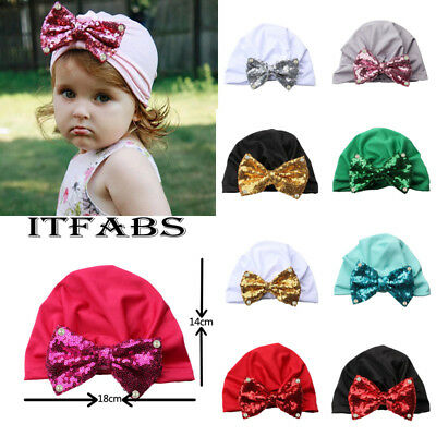 Baby Toddler Girls Boy Cute Shiny Sequin Bowknot Turban Hat Stretchy Beanie Cap