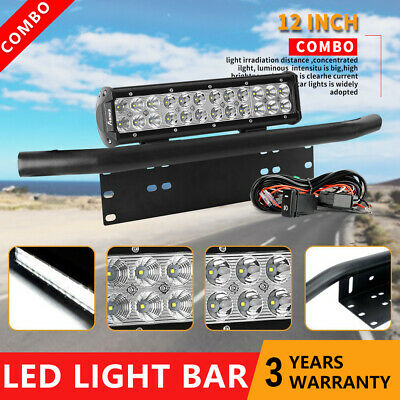12 inch LED Light Bar & 23'' Number Plate Frame & Wiring Harness Kit Offroad