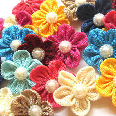 5-20 pcs Big Cotton  Ribbon Flowers Bows with Appliques Sewing DIY Craft Wedding