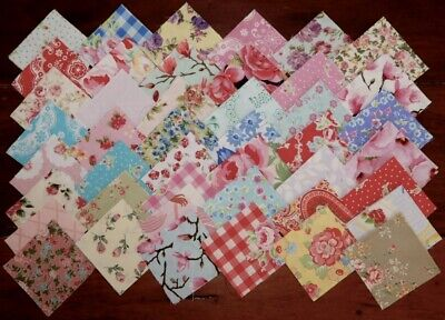 88 Floral Shabby Chic Patchwork Quilting Cotton Fabric 2.5 inch squares #5