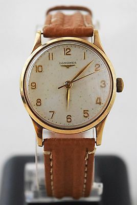 Vintage Solid Gold 18K Military Mechanical Men Swiss Wristwatch Longines Simpson