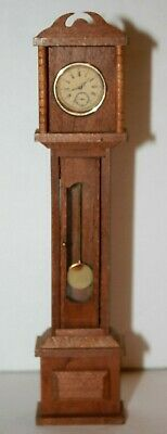 Vintage SHACKMAN Dollhouse Wood Grandfather Clock Faux Glass Door Opens Label