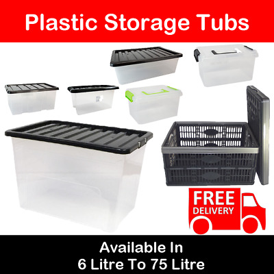 Strong Plastic Stackable Boxes Home Storage Tubs Underbed Clippy With Handles