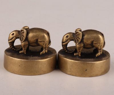 2 Vintage Chinese Bronze Statue Figurines Elephant Seals Old Handicraft Mascot