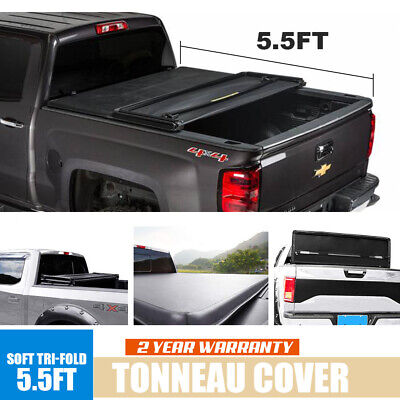 For 2014-2018 Ford F-150 5.5ft Vinyl Truck Bed Soft Tri-Fold Tonneau Cover