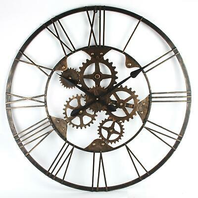 Rustic Industrial Style Metal Clock with cog details, Large ornate wall clock
