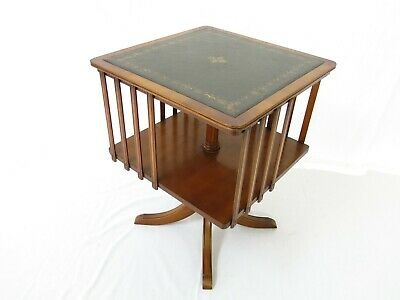Yew wood revolving bookcase - side table with leather top *Bevan funnell #2291