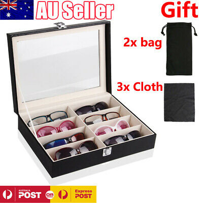 8 Grids Sunglasses Glasses Display Storage Case Box Organizer Holder PU Leather