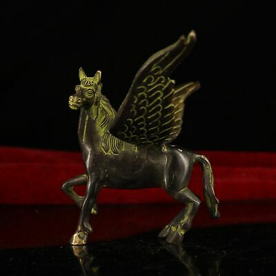 """4"""" China old Antique Tibet copper handmade fly Horse statue"""
