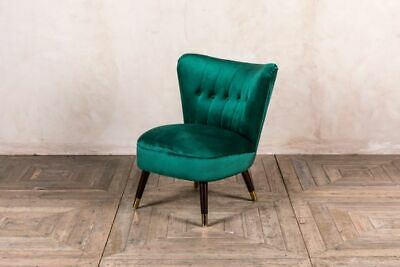 Emerald Green Velvet Cocktail Chair With Button Back Colourful Feature Chairs