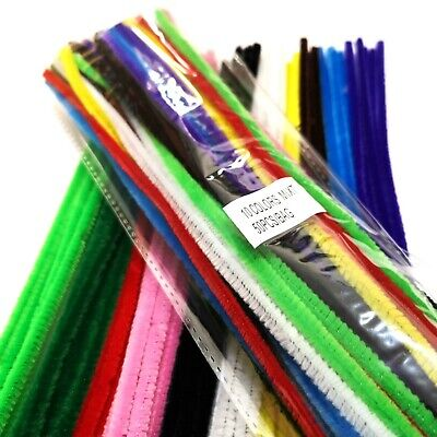 """50 Chenille Stems Craft Pipe Cleaners 30cm (12"""") ~ All 10 Colours in Every Pack"""