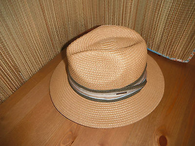 55e3cdd624c STETSON Men s Size MEDIUM Fedora Hat TARPON toyo straw NEW light brown