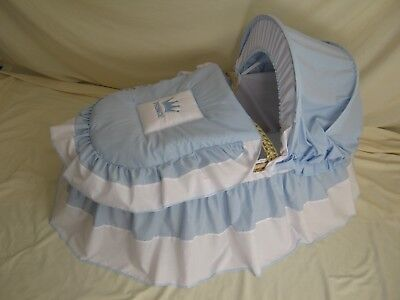 'prince'  Blue And White Moses Basket Cover Set By Babyfanzone