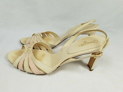 Chanel Rare Vintage White Pink Strappy Slingback Heels Size 40