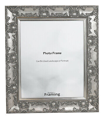 WIDE Ornate SILVER Shabby Chic Antique Swept Museum MUSE Picture Photo Frame