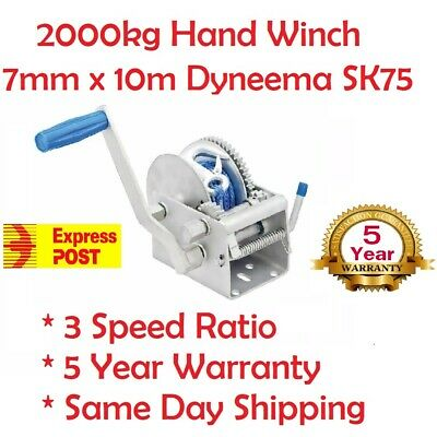 Hand Winch 2000KG 4410LBS 3 Speed Dyneema Rope Manual Car Boat Trailer Express