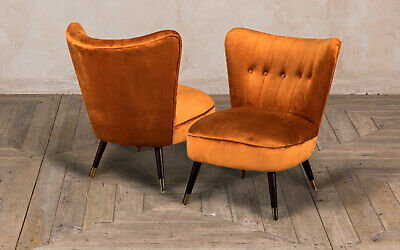 Pair Of Burnt Orange Velvet Cocktail Chair Button Back Colourful Feature Chair