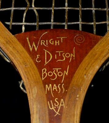 Unusual Vintage Wood 1905 Wright & Ditson The Star Tennis Racket Flared Butt End