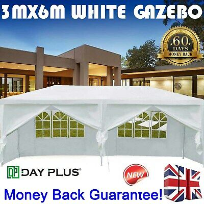 3x6m Gazebo Marquee Party Tent Outdoor Garden Patio Canopy White Full Side Walls